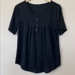 Black Flowy Short Sleeve Shirt with 3 buttons M